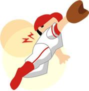 野球をして腰を痛めたイラスト